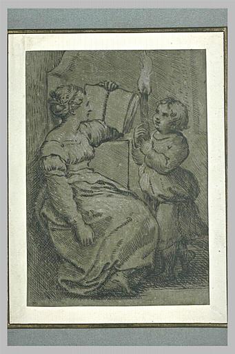 Une femme assise, lisant, et une jeune fille tenant une torche