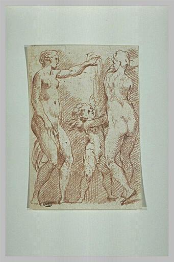 Deux femmes nues versant le contenu d'un vase sur un amour