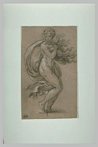 Une femme nue, debout, entourée d'une draperie, les bras devant la poitrine