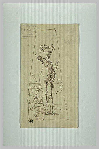Une femme nue debout, portant un panier de fleurs sur la tête