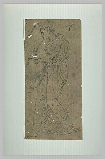 Femme debout, drapée, jouant de la flûte