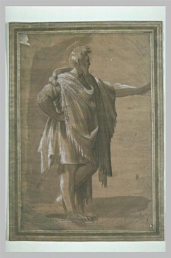 Un homme debout, de profil, tourné à droite, le bras gauche tendu