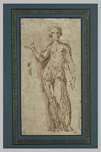 Femme debout, drapée, tenant un globe dans la main droite