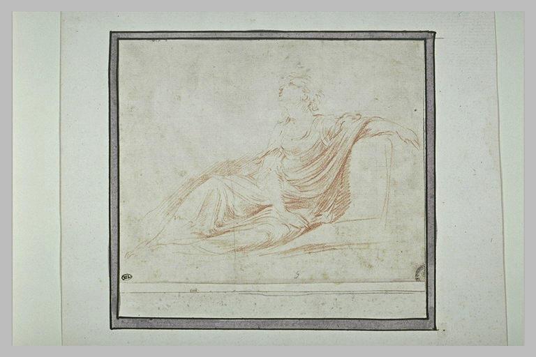 Figure de femme assise, tournée vers la gauche