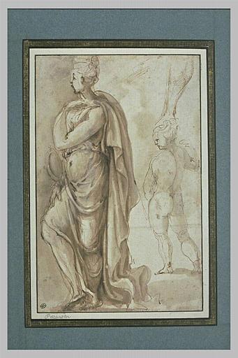 Etudes : femme, de profil, tenant un miroir ; jambe ; figure nue, de dos