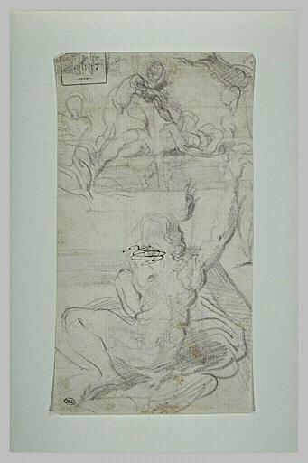 Figure assise sur une draperie, bras tendus vers d'autres personnages