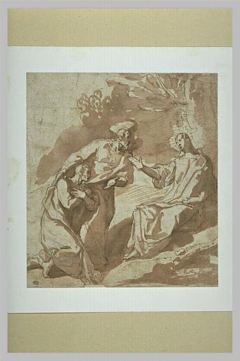 Saint Pierre et saint Paul devant Jésus-Christ assis