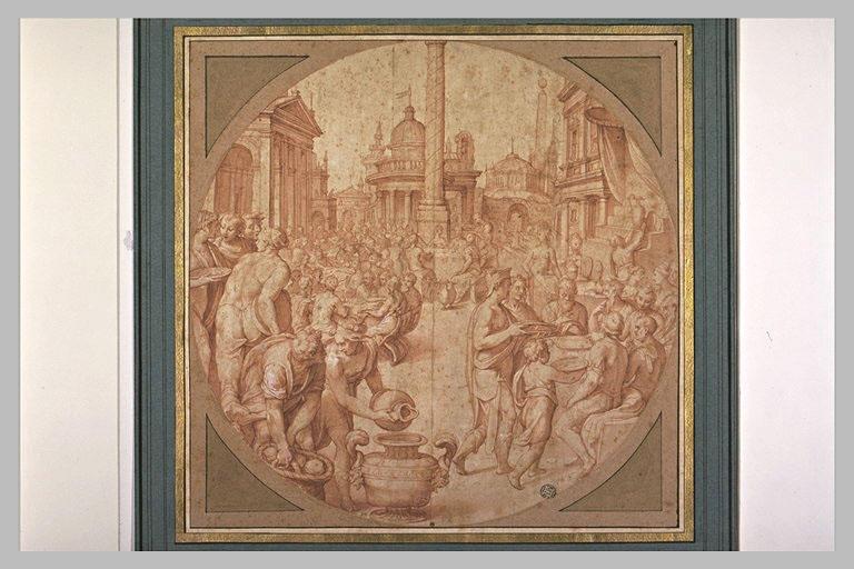Un banquet au milieu d'une place publique