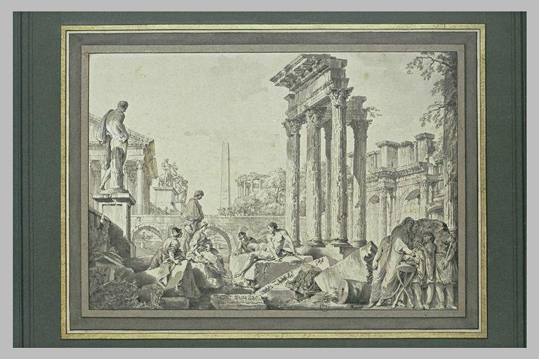 Ruines d'ordre corinthien, le forum de Nerva, des statues et des figures