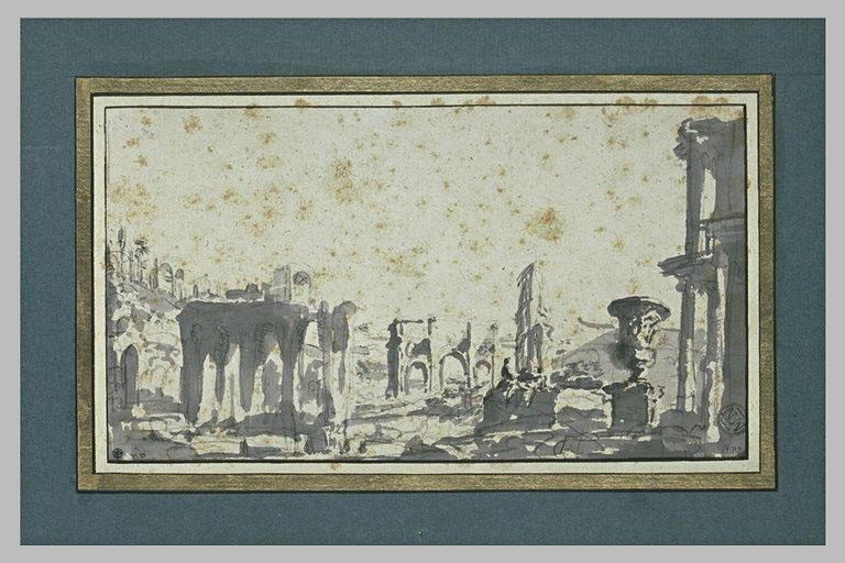 L'arc de Constantin ; une partie du Colisée ; un grand vase