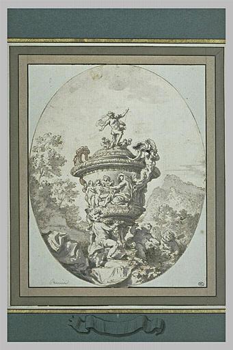 Un vase sculpté et orné de figures et de putti, dans un paysage