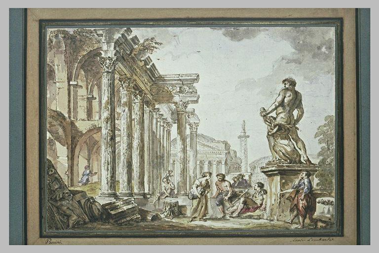 Caprice d'architecture avec le Panthéon, le Colisée, le forum de Trajan