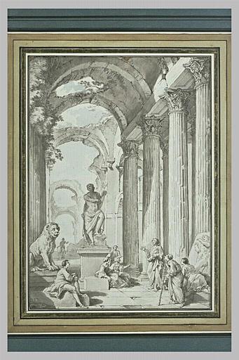 Un apôtre préchant à côté d'une statue d'Apollon jouant de la lyre