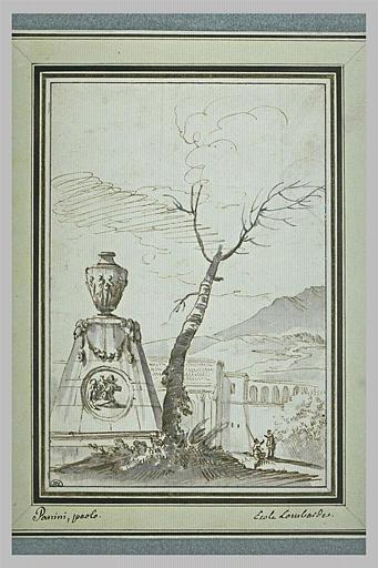 Une urne sur un tombeau, près d'un arbre et devant le mur d'une ville
