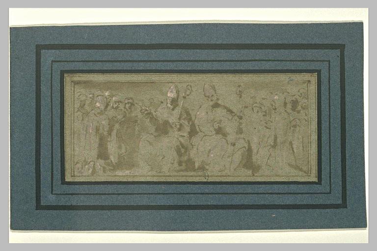 Deux évêques, assis, entourés de fidèles à genoux
