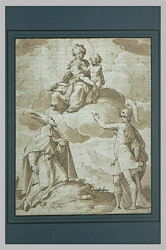 Apparition de la Vierge et de l'Enfant à un évêque et à un guerrier