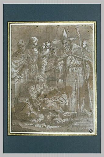Evêque guérissant un homme étendu, soutenu par une femme, devant des gens