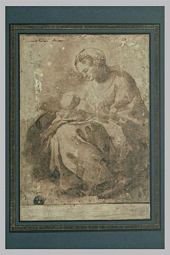 La Vierge, assise, contemplant l'Enfant debout devant elle