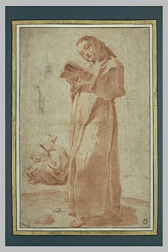 Deux moines en lecture, l'un assis et l'autre debout