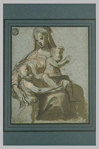 La Vierge assise avec l'Enfant sur ses genoux et le petit saint Jean