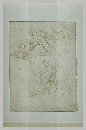 Vierge à l'Enfant avec le petit Saint-Jean à califourchon sur un agneau...
