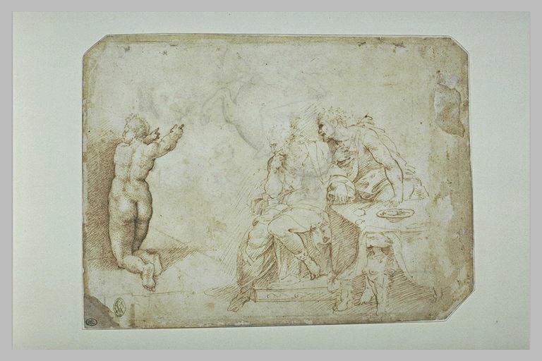 Cavalier armé luttant contre un dragon ; femme agenouillée