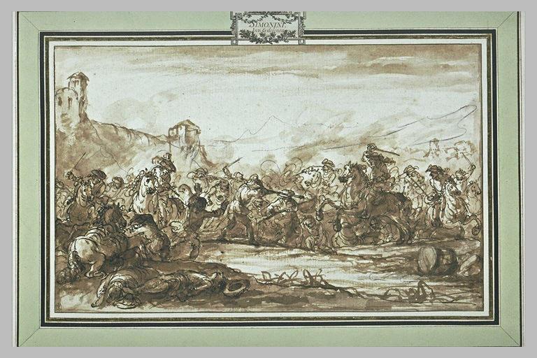 Bataille dans une vallée avec des cavaliers