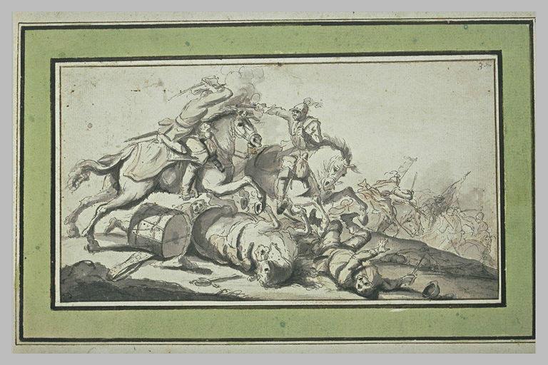 Combat de cavalerie : le porte-tambour gît près de son cheval
