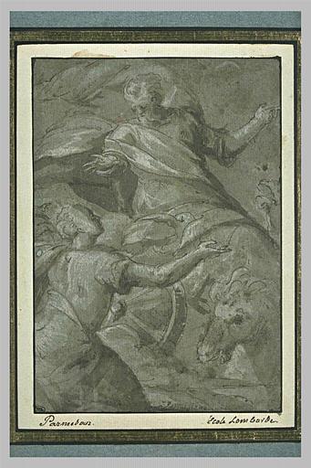 L'ascension d'Elie dans un char de feu devant Elisée