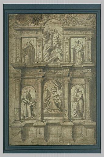 Projet d'autel ou de retable, dédié à la Vierge et à saint Georges