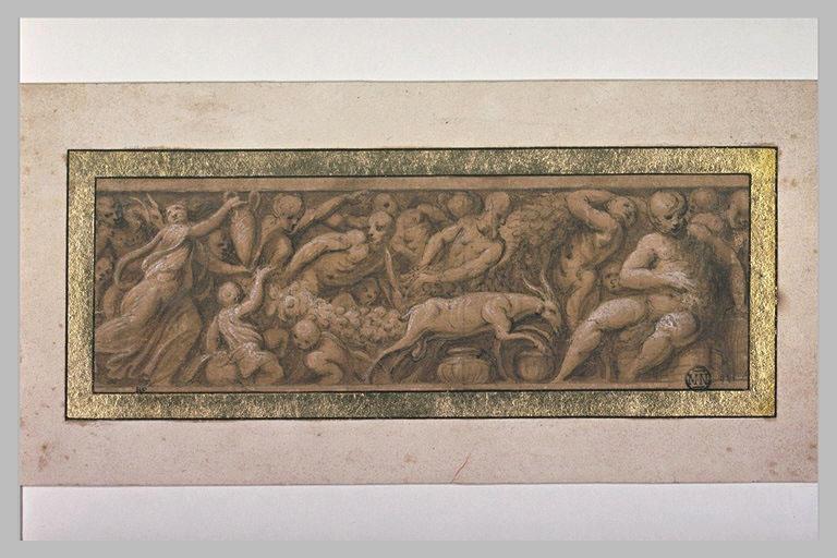 Frise composée de figures, d'animaux et de festons