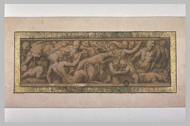 Frise composée de satyres, de génies et d'animaux