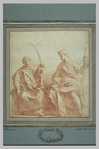 Saint Etienne tenant une palme, assis près d'un autre bienheureux