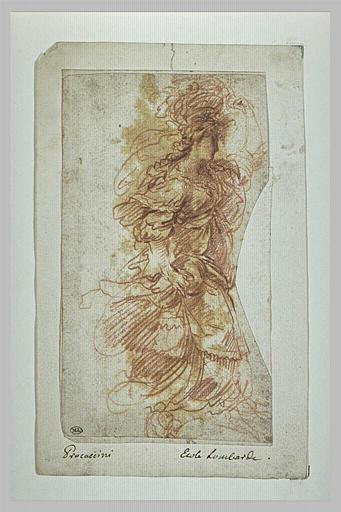 Une jeune fille richement parée marchant avec une corbeille de fleurs