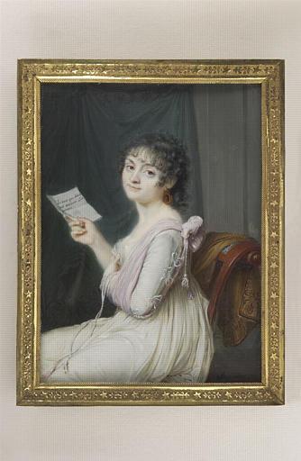 AUGUSTIN Jean-Baptiste Jacques : Portrait de femme vue jusqu'aux genoux