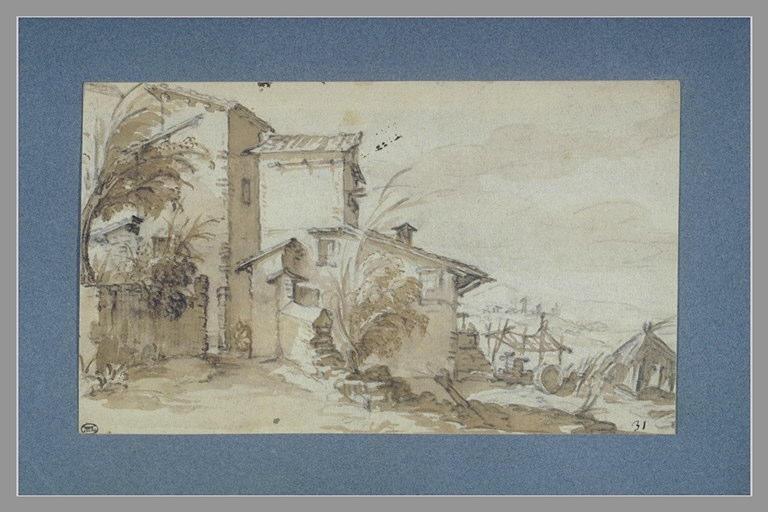 CALLOT Jacques : Paysage avec une maisonnette entourée d'arbustes