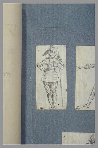 CALLOT Jacques : Un soldat, debout, vu de dos, appuyé sur une lance