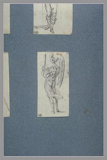 CALLOT Jacques : Une figure ailée, debout, vue de dos