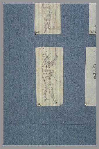 CALLOT Jacques : Un soldat, appuyé sur une lance, tourné vers la droite