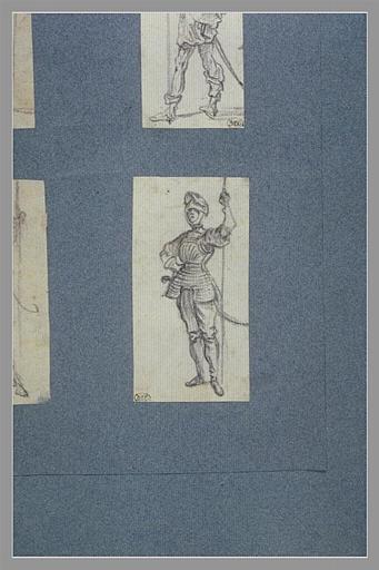 Un soldat, coiffé d'un casque, appuyé sur une lance_0