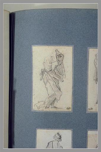 CALLOT Jacques : Une figure drapée, marchant vers la droite