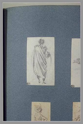 CALLOT Jacques : Un turc drapé, debout, vu de dos