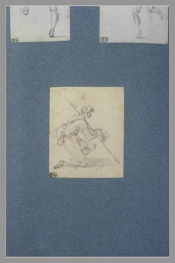 CALLOT Jacques : Un jeune homme à genoux, tenant une casquette à la main