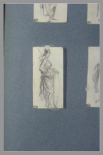 CALLOT Jacques : Une femme, debout, tournée vers la droite : Allégorie de la Prudence