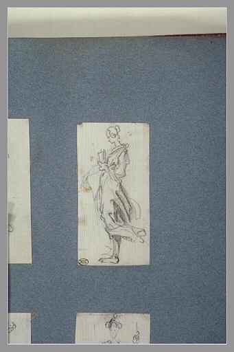 CALLOT Jacques : Une femme, debout, tenant un vase