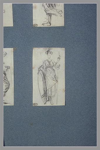CALLOT Jacques : Une femme debout, tenant une lance et un bouclier