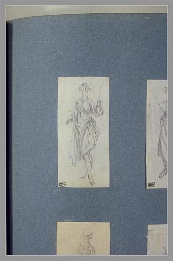 CALLOT Jacques : Une femme, debout, une verge dans la main gauche