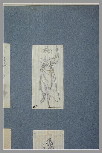 CALLOT Jacques : Une femme, debout, vue de face, un objet dans chaque main