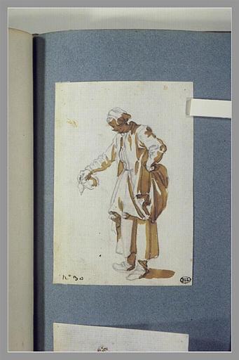 CALLOT Jacques : Une femme, debout, versant le contenu d'un vase