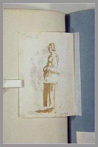 CALLOT Jacques : Une paysanne, debout, de profil, vers la gauche
